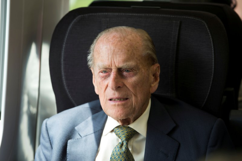 Britain's Prince Philip sits in a train on a journey marking the 175th anniversary of the first train journey by a British monarch, recreating the historic journey made by Queen Victoria on 13th June 1842, from Slough to London Paddington, Britain on June 13, 2017. (REUTERS/Paul Edwards/Pool)