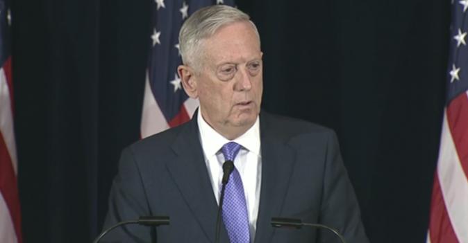 Retired Gen. James Mattis, U.S. Secretary of Defense, speaks at a press conference in Washington D.C. on June 21. (Screenshot/U.S. Department of Defense)