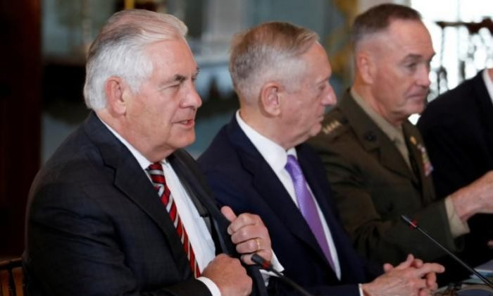 U.S. Secretary of State Rex Tillerson and Defense Secretary James Mattis meet with Chinese State Councilor Yang Jiechi and General Fang Fenghui, chief of the People's Liberation Army's Joint Staff Department prior to the U.S.-China Diplomatic and Security Dialogue at the State Department in Washington, U.S., June 21, 2017. (Reuters/Aaron P. Bernstein)