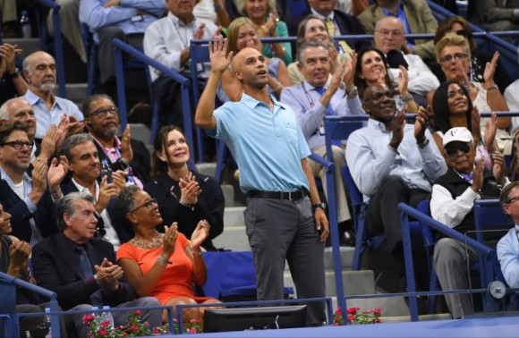 File Photo: Former player James Blake acknowledges the crowd during the match between Roger Federer of Switzerland and Stan Wawrinka of Switzerland on day twelve (Sep 11, 2015) of the 2015 U.S. Open tennis tournament at USTA Billie Jean King National Tennis Center on. (Robert Deutsch-USA TODAY Sports)