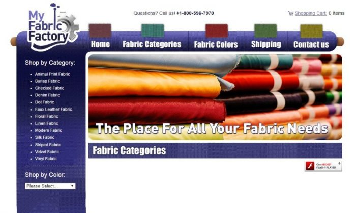 A screen grab of the home page of website www.myfabricfactory.com taken June 20, 2017.  (www.myfabricfactory.com via Reuters)