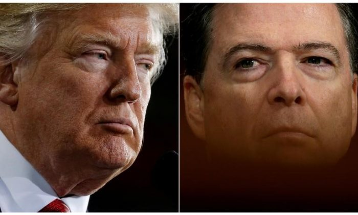 President Trump (L) and former FBI Director James Comey in a combination of file photos. (Jonathan Ernst/Kevin Lamarque/Reuters)