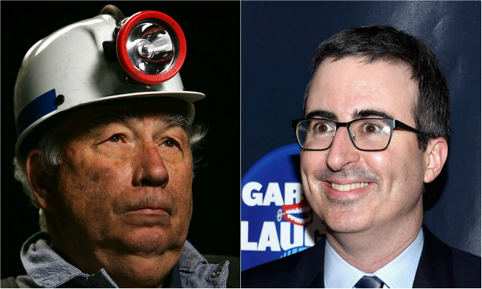 (L) Robert E. Murray (R) John Oliver (David McNew and Dimitrios Kambouris/Getty Images)