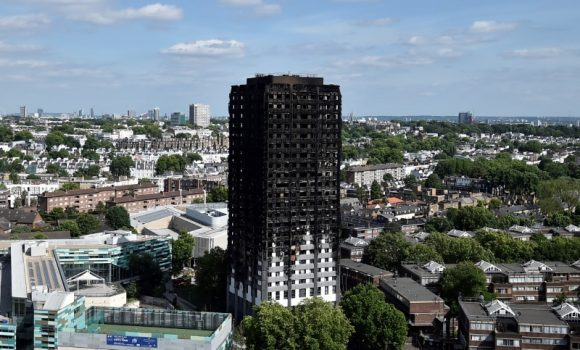 Extensive damage is seen to the Grenfell Tower block which was destroyed in a disastrous fire, in north Kensington, West London, Britain June 16, 2017. (Reuters/Hannah McKay)