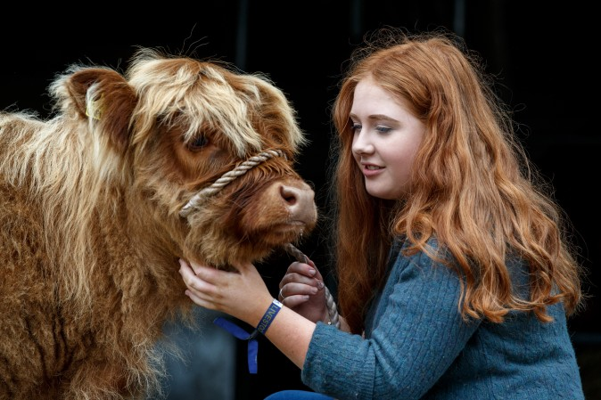 18-year old Laura Hunter with her Highland calf before the 177th Royal Highland Show in Edinburgh, Scotland, on June 23. The Royal Highland Show is Scotland's annual farming and countryside showcase, organized by the Royal Highland and Agricultural Society of Scotland. (Robert Perry/Getty Images)