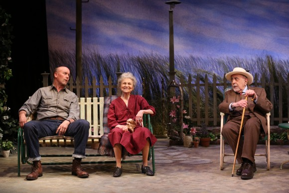 (L–R) Slim Murray (Larry Bull), Mrs. Mavis (Lynn Cohen) and a town resident George Morfogen show the  once-upon-a-time affable quality of small town life. (Carol Rosegg)