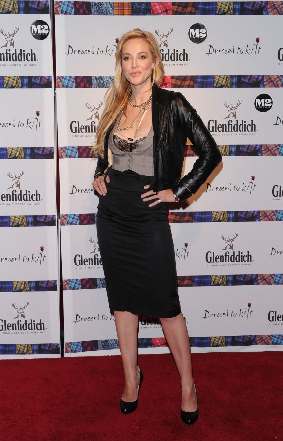 """Actress Louise Linton attends the 8th annual """"Dressed To Kilt"""" Charity Fashion Show presented by Glenfiddich at M2 Ultra Lounge on April 5, 2010 in New York City. (Andrew H. Walker/Getty Images)"""