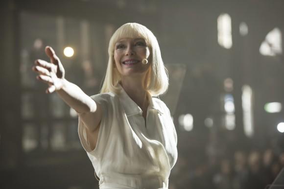 "Tilda Swinton as Lucy Mirando in a scene from ""Okja."" (Barry Wetcher/Netflix via AP)"