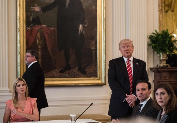 US President Donald Trump and his daughter Ivanka attend an American Leadership in Emerging Technology roundtable in the East Room of the White House in Washington, DC, on June 22, 2017. (NICHOLAS KAMM/AFP/Getty Images)