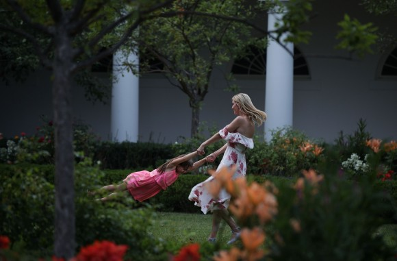 Ivanka Trump (R), daughter and assistant to President Donald Trump, plays with her daughter Arabella Rose Kushner (L) in the Rose Garden during during a Congressional Picnic on the South Lawn of the White House June 22, 2017 in Washington, DC. (Alex Wong/Getty Images)