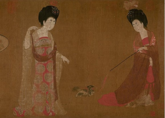 """Court Ladies Wearing Flowered Headdresses,"" detail. (Public domain)"