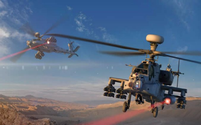 An apache helicopter carrying a laser weapon shoots at a target in this digital rendering provided by Raytheon, the weapon's manufacturer. (Courtesy by Raytheon)