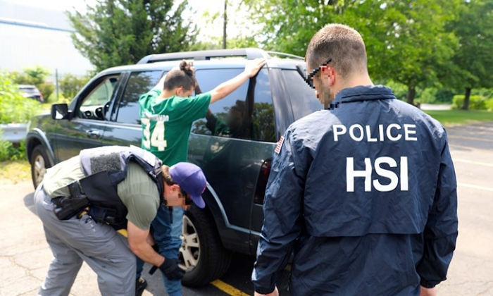 A gang member is arrested during Operation Matador, a 30-day gang sweep in the New York City area in May and June. Of 45 gang members arrested, 39 were affiliated with MS-13. (Courtesy of ICE)