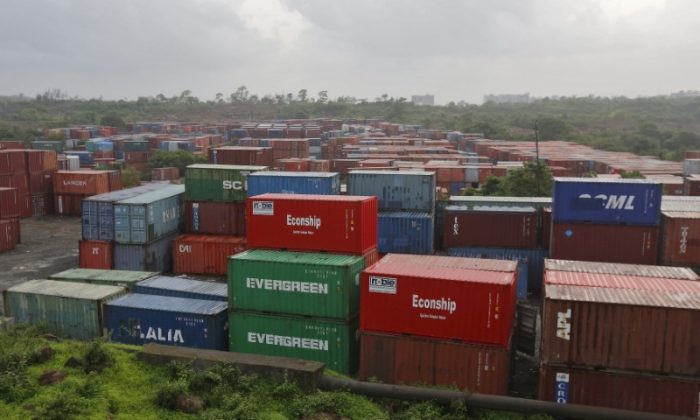 Cargo containers stacked outside the container terminal of Jawaharlal Nehru Port Trust (JNPT) in Mumbai, India, July 15, 2015. (Reuters/Shailesh Andrade/File Photo)