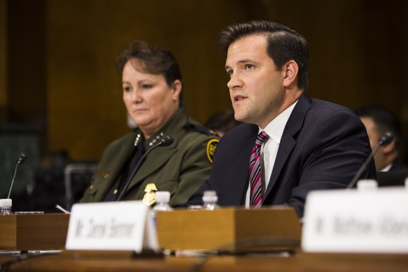 Scott Lloyd, director of the Office of Refugee Resettlement, and Carla Provost, acting chief U.S. Border Patrol, at a Senate Judiciary Committee hearing on the MS-13 gang problem, in Washington on June 21, 2017. (Samira Bouaou/The Epoch Times)