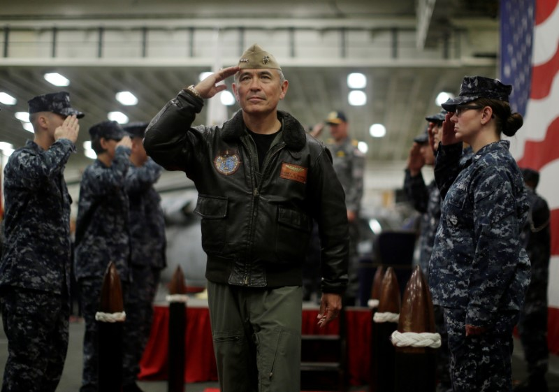 U.S. Navy Admiral Harry Harris, Commander of the U.S. Pacific Command, salutes at a ceremony marking the start of Talisman Saber 2017, a biennial joint military exercise between the United States and Australia, aboard the USS Bonhomme Richard amphibious assault ship in the Pacific Ocean off the coast of Sydney, Australia, June 29, 2017.  REUTERS/Jason Reed