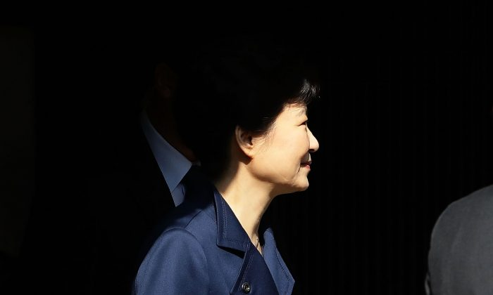 Ousted South Korean President Park Geun-hye leaves for Seoul Central District Court from her private home on March 30, 2017 in Seoul, South Korea. (Chung Sung-Jun/Getty Images)