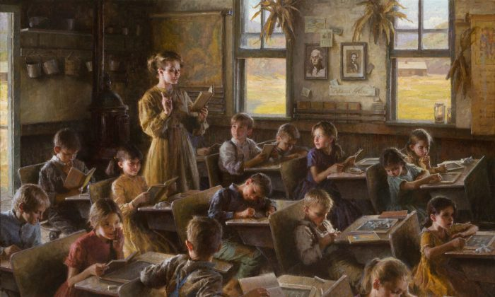 """""""Country Schoolhouse,1879,"""" by Morgan Weistling, 2010. Oil on canvas, 44 inches by 60 inches. 2010 Patron's Choice Award from the Autry National Heritage Museum show """"Masters of the American West."""" (Courtesy of Morgan Weistling)"""