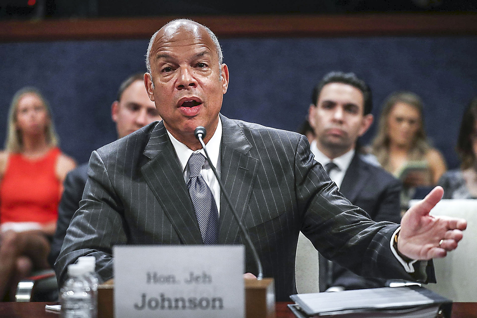 Former Homeland Security Secretary Jeh Johnson testifies before the House intelligence committee on June 21, 2017. (Chip Somodevilla/Getty Images)