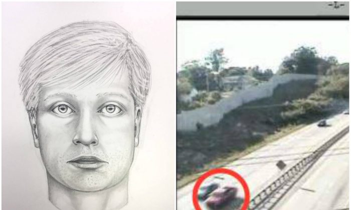 Sketch artist portrait of the suspected killer (L) of Bianca Nikol Roberson and his red pickup truck (R-circled). (West Goshen Township Police Department)