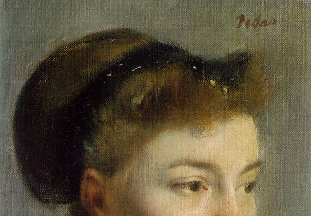 """""""Portrait of a Young Woman,"""" 1867, by Edgar Degas (1834–1917). Oil on canvas, 8.6 inches by 10.6 inches, Musée d'Orsay, Paris, France. (Public Domain)"""