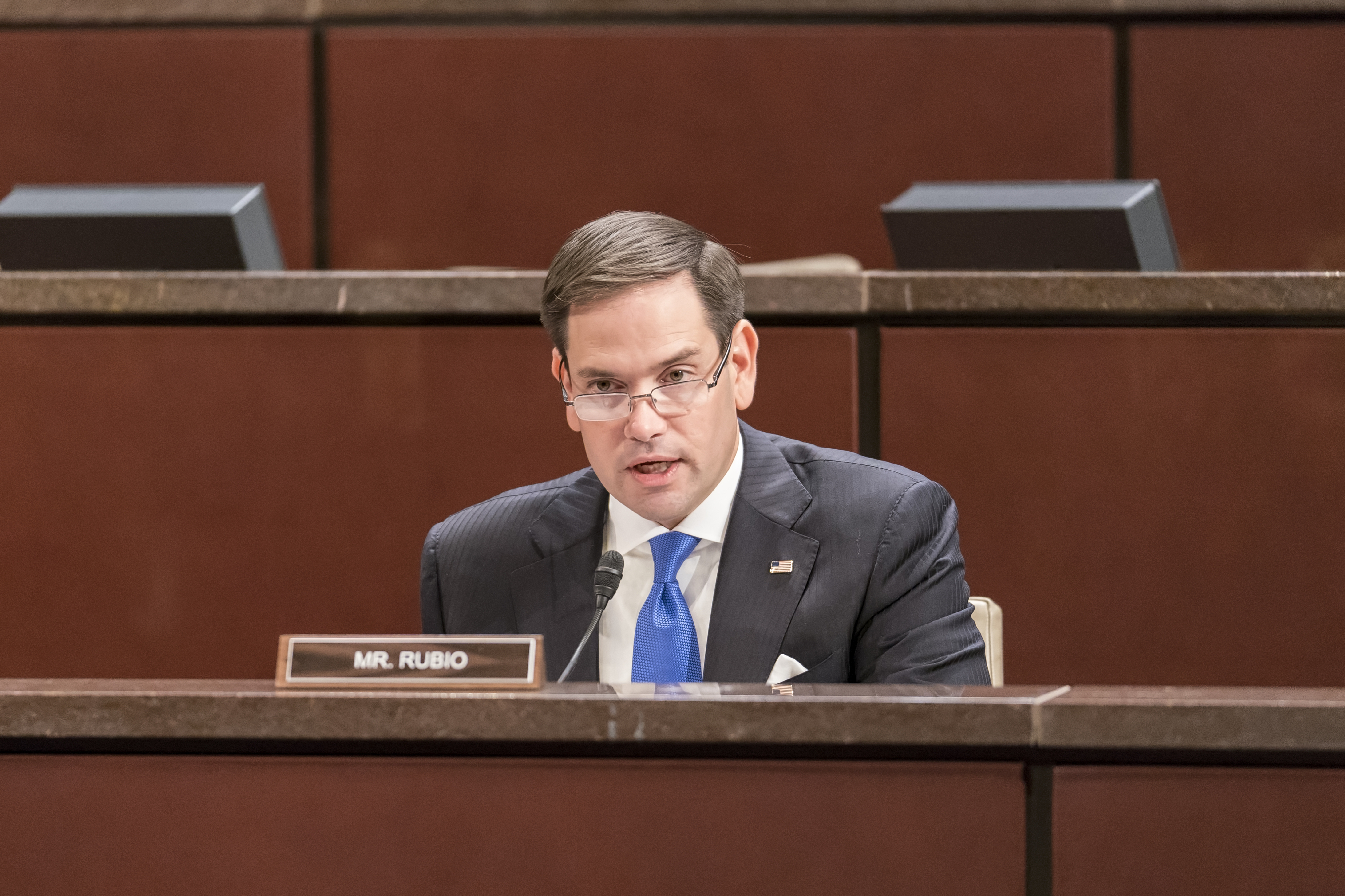 Senator Marco Rubio, the co-chairman of the Congressional-Executive Commission on China (CECC) speaks on Wednesday's hearing on China's human rights. (Leo Shi/The Epoch Times)