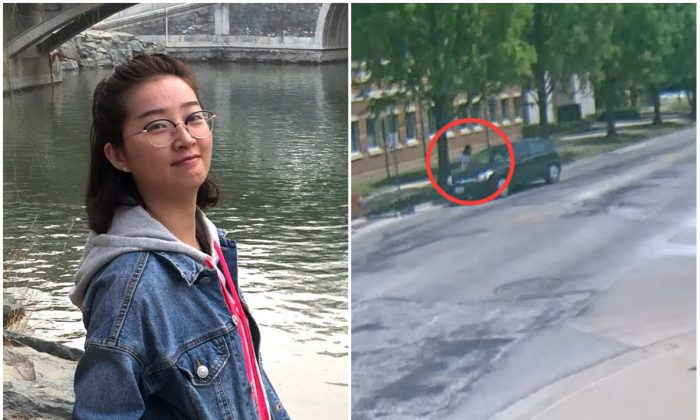 L: Yingying Zhang. (Courtesy of Yingying Zhang's family); R: A frame from security camera footage showing Yingying Zhang talking to a person inside a black Saturn Astra. (Illinois University Police)
