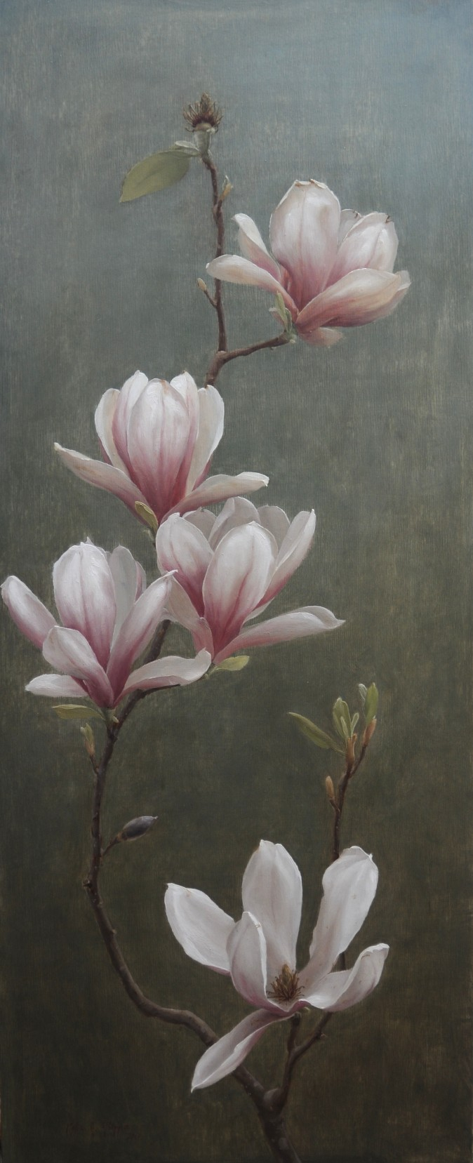 """""""Magnolia,"""" 2017, by Katie G. Whipple. Oil on wood, 30 inches by 12 inches. (Courtesy of Katie G. Whipple)"""