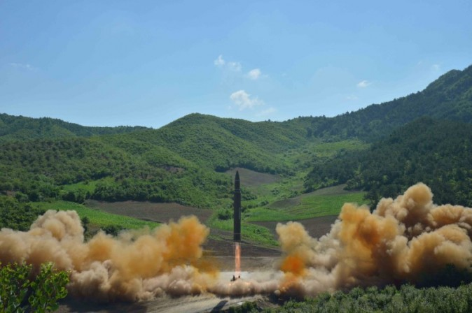 The intercontinental ballistic missile Hwasong-14 is seen during its test launch. The launch came days before leaders from the Group of 20 nations were due to discuss steps to rein in North Korea's weapons programme, which it has pursued in defiance of U.N. Security Council sanctions. (KCNA/via REUTERS)
