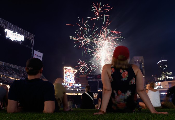The Minnesota Twins baseball team set off fireworks in honor of the the Fourth of July after the game against the Los Angeles Angels of Anaheim at Target Field in Minneapolis, Minn., on July 3, 2017. (Hannah Foslien/Getty Images)