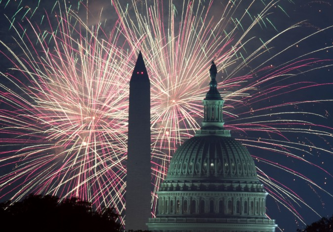 Fireworks explode over the National Mall with the US Capitol and National Monument in the foreground in Washington on July 4. (PAUL J. RICHARDS/AFP/Getty Images)