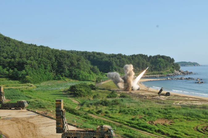 An M270 Multiple Launch Rocket System from 1st Battalion, 18th Field Artillery Regiment, 210th Field Artillery Brigade, 2nd Republic of Korea/United States Combined Division, fires an MGM-140 Army Tactical Missile into the East Sea, July 5. The missile launch demonstrated the combined deep strike capabilities which allow the ROK/U.S. Alliance to neutralize hostile threats and aggression against the ROK, U.S. and our Allies.