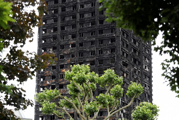Damage to Grenfell Tower is seen following the fire in London, Britain, June 25, 2017.  (Reuters/Peter Nicholls/File Photo)
