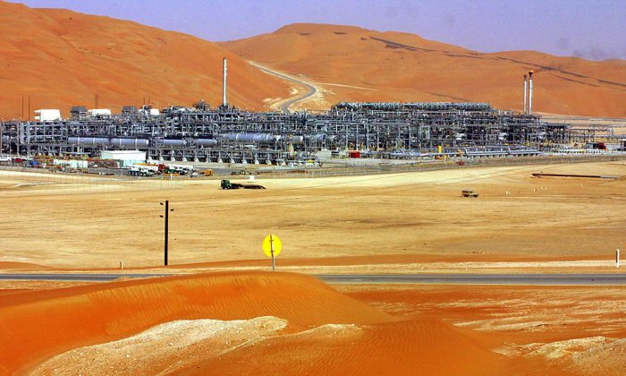 A general view shows  the Shaybah mega-project, the first, and so far sole, oilfield development in Saudi Arabia's vast Al-Rub al-Khali desert, some 500 miles southeast of the eastern oil center of Dhahran. (BILAL QABALAN/AFP/Getty Images)