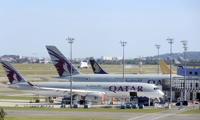 Two Airbus A350 and A380 are pictured at the Airbus delivery site on Sept. 25, 2015 in Blagnac, before their delivery to Qatar.  (REMY GABALDA/AFP/Getty Images)