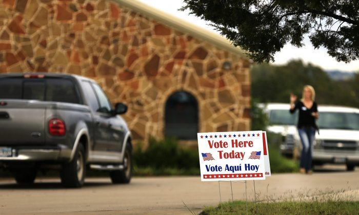 Voters arrive at a polling place to cast their ballots in Brock, Texas on Nov. 8, 2016. (Ron Jenkins/Getty Images)