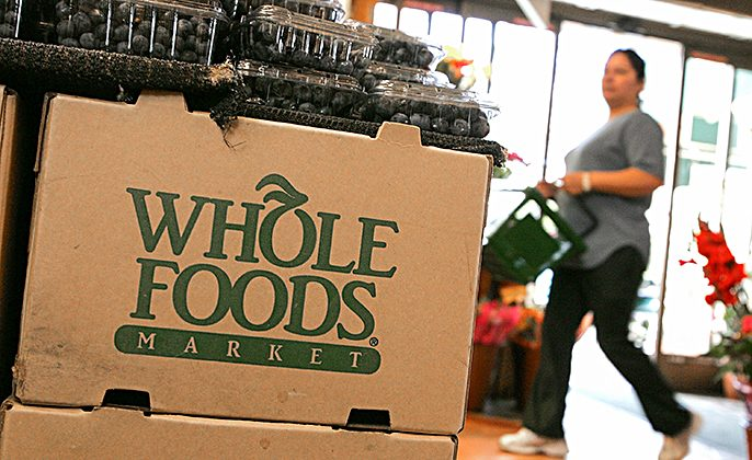 The Whole Foods logo adorns a cardboard box at a Whole Foods Market in San Francisco, Calif., on Feb. 22, 2007. (Justin Sullivan/Getty Images)