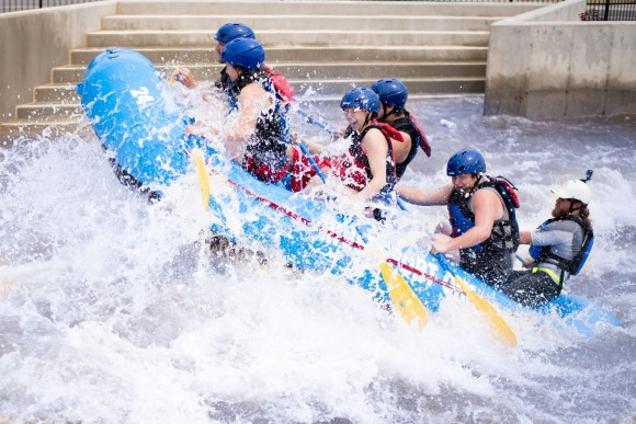 Having fun in the rapids at River Sport Adventures, a whitewater rafting and kayaking centre in downtown Oklahoma City. (Oklahoma City Convention & Visitors Bureau)