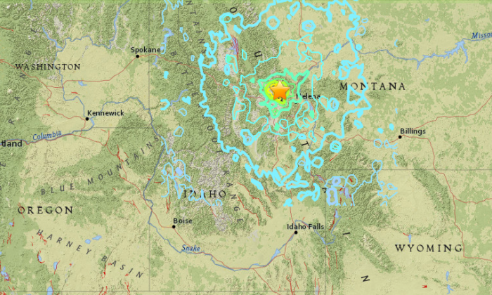Location of a magnitude 5.8 earthquake in Montana on July 6, 2017. (USGS)