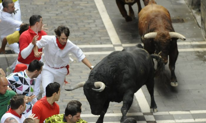 Participants run in front of El Pilar's bulls during the fourth San Fermin Festival bull run, on July 10, 2012, in Pampl (ANDER GILLENEA/AFP/GettyImages)