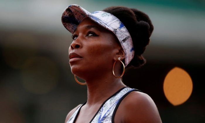 USA's Venus Williams reacts during her third round match against Belgium's Elise Mertens during the French Open at Roland Garros stadium in Paris, France on June 2, 2017.  (Reuters/Christian Hartmann/File Photo)