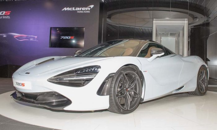 One of the two McLaren 720S supercars on display at the McLaren Wanchai showroom for its Hong Kong launch on June 29, 2017. (Bill Cox/Epoch Times)