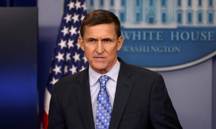 Then national security adviser General Michael Flynn at a daily briefing at the White House in Washington, Feb. 1, 2017. (Reuters/Carlos Barria)