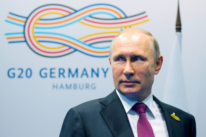 Russian President Vladimir Putin looks on before a meeting at the G-20 summit in Hamburg, Germany July 8, 2017.  REUTERS/Alexander Zemlianichenko/Pool