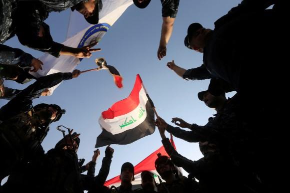 Iraqi Federal police celebrate in West Mosul, Iraq. (Reuters/Alaa Al-Marjani)