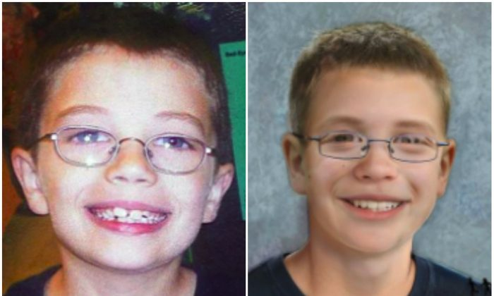 Kyron Horman before he dissapeared in 2010 (L) and in a portrait adjusted for how he could look like at age 14. (National Center for Missing and Exploited Children)