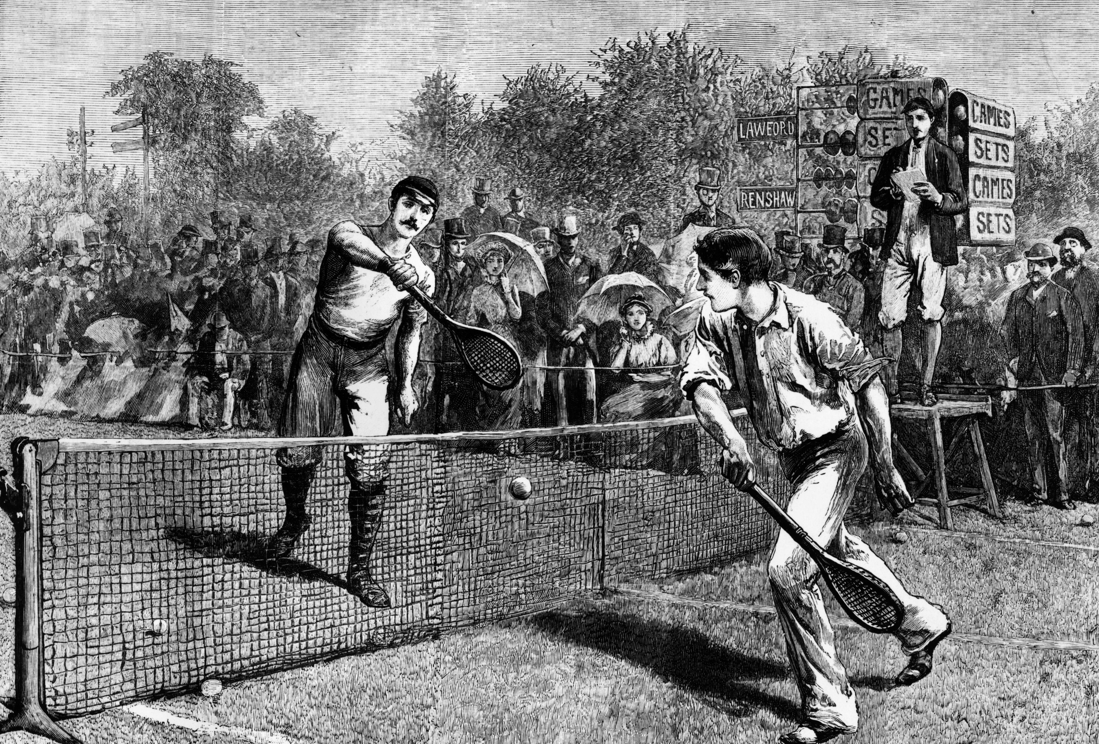 British tennis player William Renshaw and H F Lawford playing for the Men's Singles Title at Wimbledon, which Renshaw won. Original Publication: The Graphic  (Hulton Archive/Getty Images)
