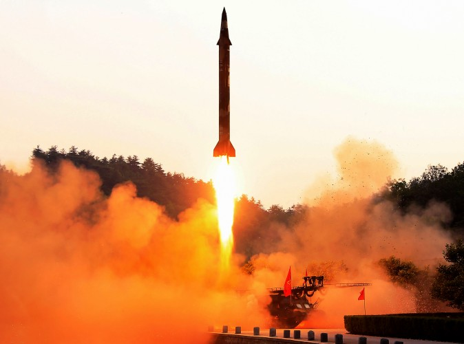 The test fire of a ballistic missile at an undisclosed location in North Korea in an undated photo released by North Korea's official Korean Central News Agency on May 30, 2017.  (STR/AFP/Getty Images)