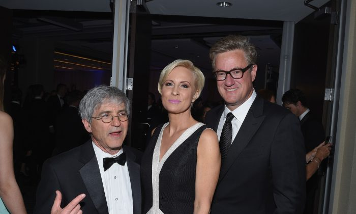 WASHINGTON, DC - APRIL 25:  (L-R)  A guest, Mika Brzezinski and Joe Scarborough attend the Yahoo News/ABC News White House Correspondents' dinner reception pre-party at the Washington Hilton on Saturday, April 25, 2015 in Washington, DC.  (Photo by Andrew H. Walker/Getty Images for Yahoo)