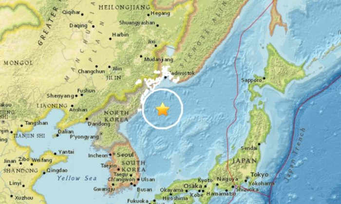 The location of Wednesday's earthquake near North Korea (USGS)